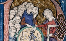 The image of a woman teaching Geometry, based on Martianus Capella's famous book De Nuptiis Philologiae et Mercurii, a standard source for allegorical imagery of the seven liberal arts.