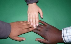2 Person and 1 Child Connected Hands