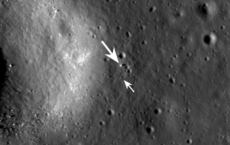 view of the Chang'e 3 lander (large arrow) and rover (small arrow) just before sunset