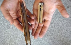 A razor clam (left) and the RoboClam Photo: Donna Coveney